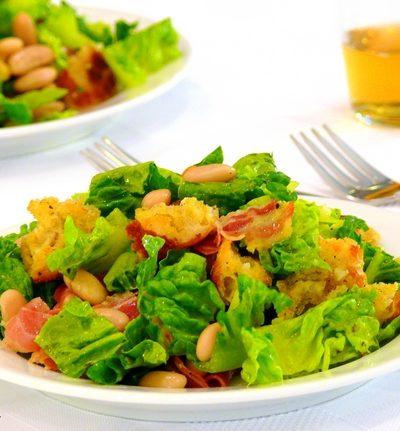 Pancetta & White Bean Salad with Rosemary-Garlic Vinaigrette