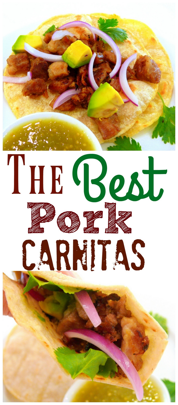 The Best Pork Carnitas are so easy to make they are perfect for a weeknight dinner. Make them for Cinco de Mayo for a delicious, authentic meal. #noblepig #carnitas #tacos #mexican #pork via @cmpollak1