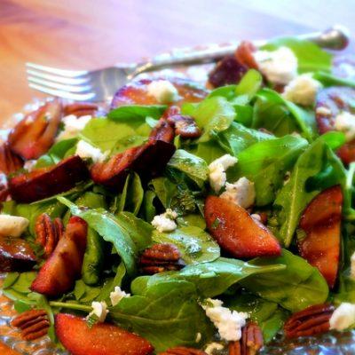 Grilled Plum Salad with Brandy-Mint Vinaigrette