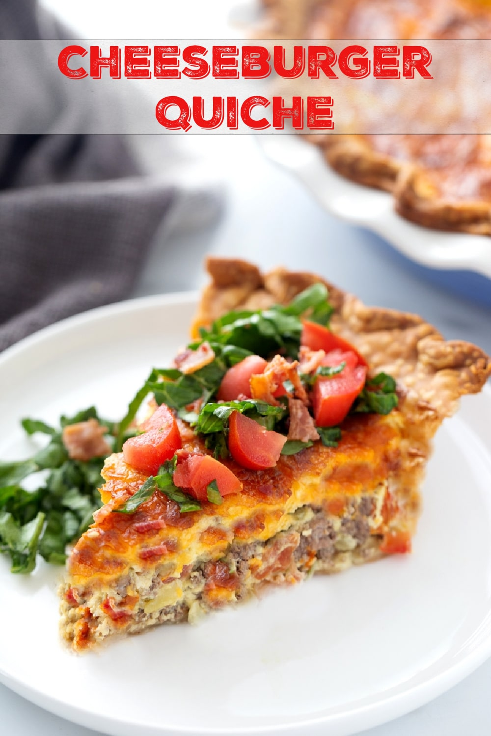 A Cheeseburger Quiche that tastes just like the burger you've been craving. Packed with protein, this quiche is the quick and easy dinner solution you've been searching for. via @cmpollak1