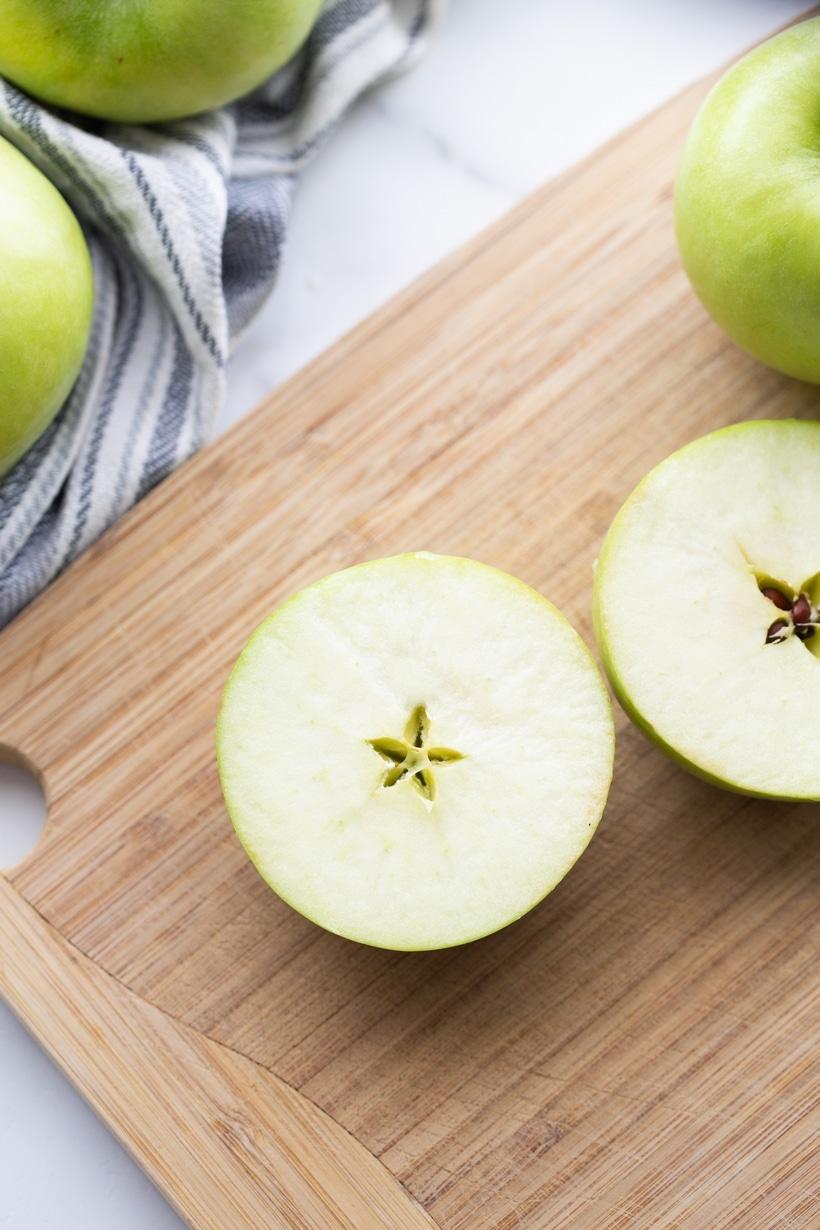 Halved apples.