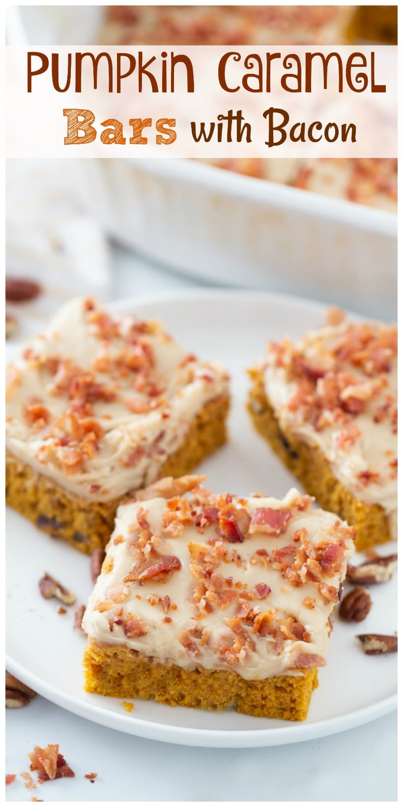 These Pumpkin Caramel Bars with Bacon are the salty-sweet dessert combination you have been craving. With bacon sprinkled on top and drippings in the pumpkin layer you are in for a treat. via @cmpollak1