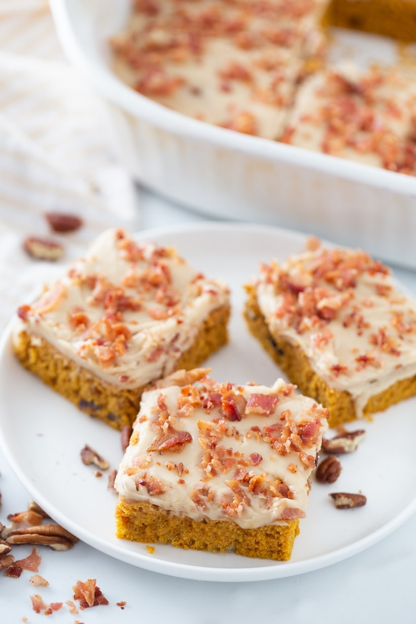 Pumpkin bars on a plate.