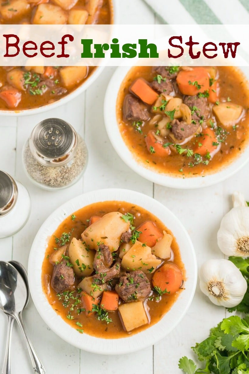 Hearty and delicious, this Beef Irish Stew is a family favorite. Slow simmering on the stove makes the beef incredibly tender and the addition of Guinness and red wine add to the complexity of the sauce. This beef stew is a perfect cool-weather meal and suitable for any Irish holiday.  #noblepig #irishstew #stpatricksday #irishfood via @cmpollak1