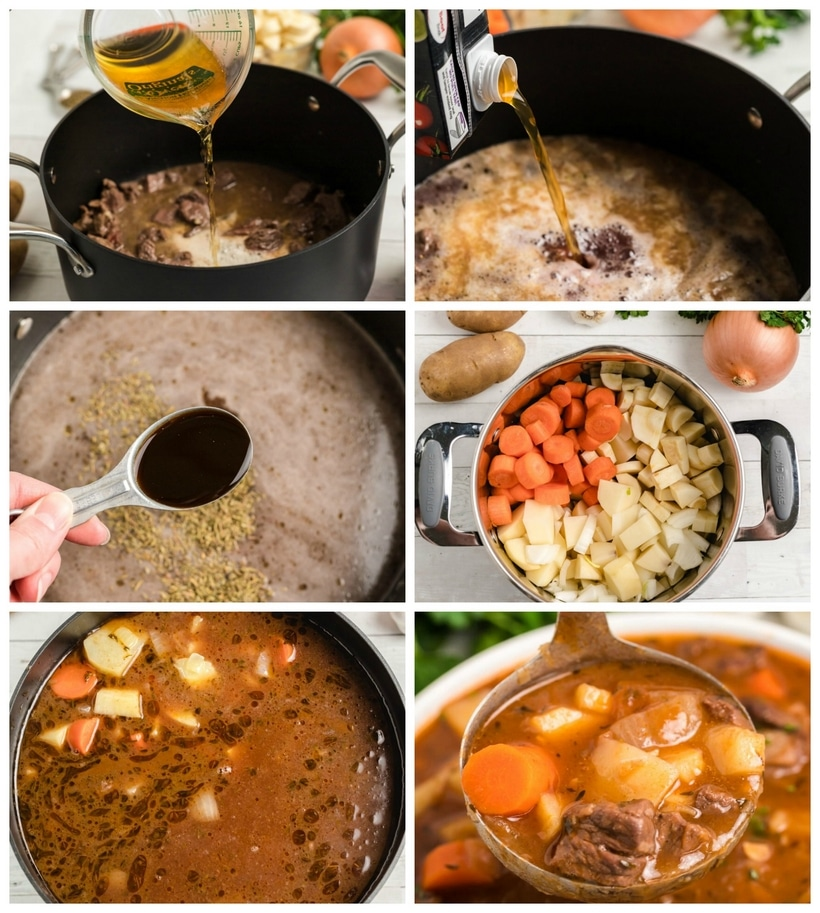 Hearty and delicious, this Beef Irish Stew is a family favorite. Slow simmering on the stove makes the beef incredibly tender and the addition of Guinness and red wine add to the complexity of the sauce. This beef stew is a perfect cool-weather meal and suitable for any Irish holiday. #noblepig #irishstew #stpatricksday #irishfood
