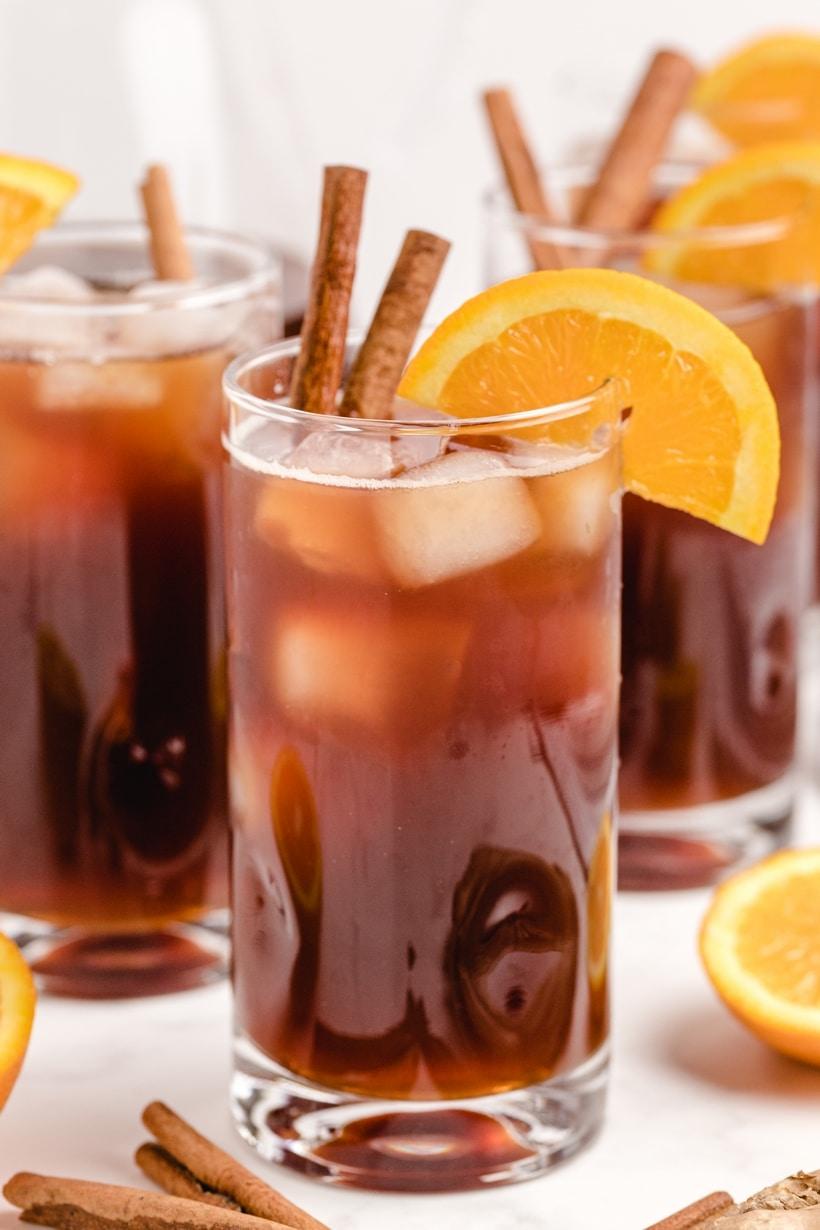 Three glasses of iced tea.