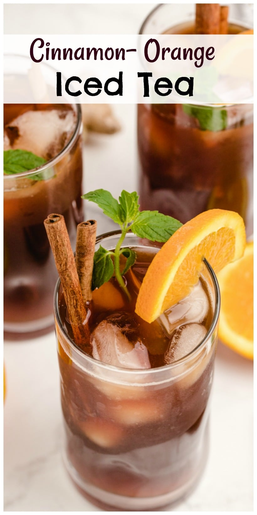 Cinnamon-Orange Iced Tea is not your typical backyard barbecue sweet tea, it's so much better! This next level iced tea uses cinnamon and ginger to highlight the sweetness of the added sugar and bring to the life the light, citrus undertones. via @cmpollak1