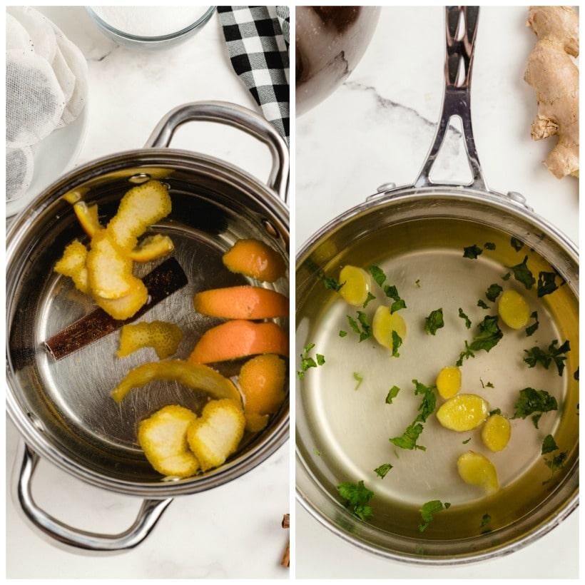 Ingredients in a saucepan.