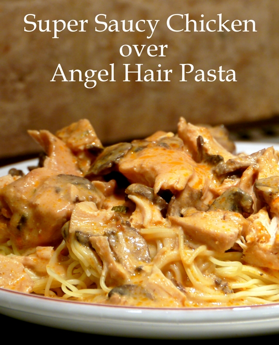Slow Cooker Super Saucy Chicken over Angel Hair Pasta