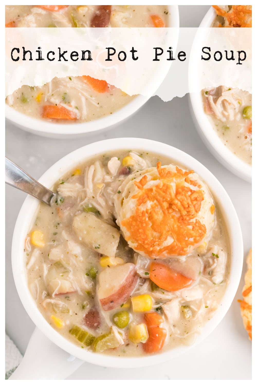 Chicken Pot Pie Soup - a thick and creamy base, with lots of body and richness. All the best flavors of chicken pot pie, but in soup form. via @cmpollak1