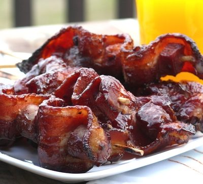 Bacon, Sausage & Ham Breakfast Kebabs with Marionberry-Cinnamon Barbecue Sauce
