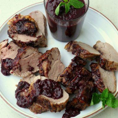 Pork Tenderloin with Blueberry-Bacon Barbecue Sauce + VIDEO