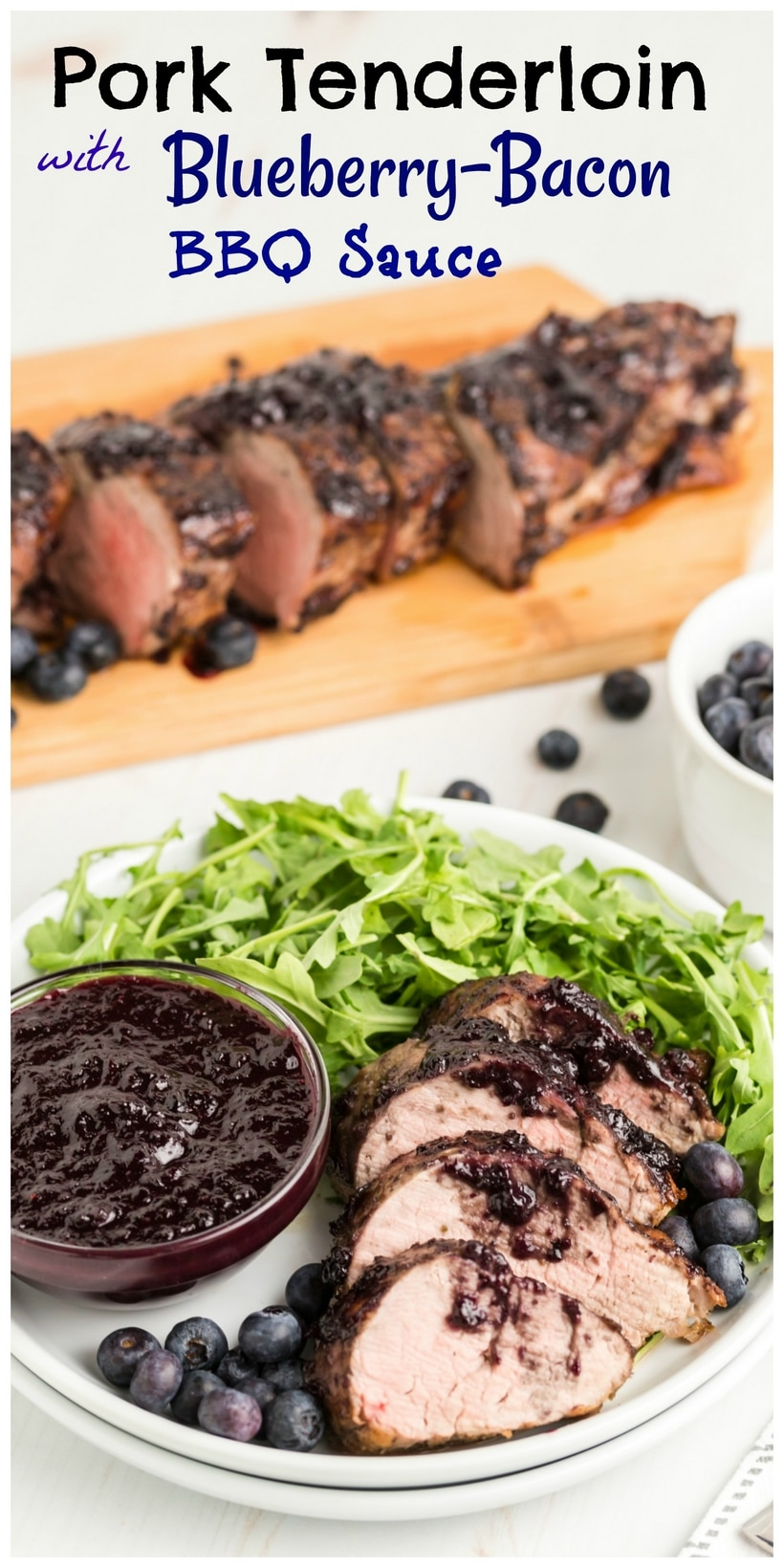 Put those summer blueberries to good use with this delicious PORK TENDERLOIN with BLUEBERRY-BACON BARBECUE SAUCE. The blueberry sauce is tangy, smokey and sweet all in one, and pork tenderloin is the perfect vehicle for this incredible sauce. via @cmpollak1