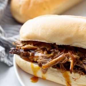 Pulled pork in a bun.