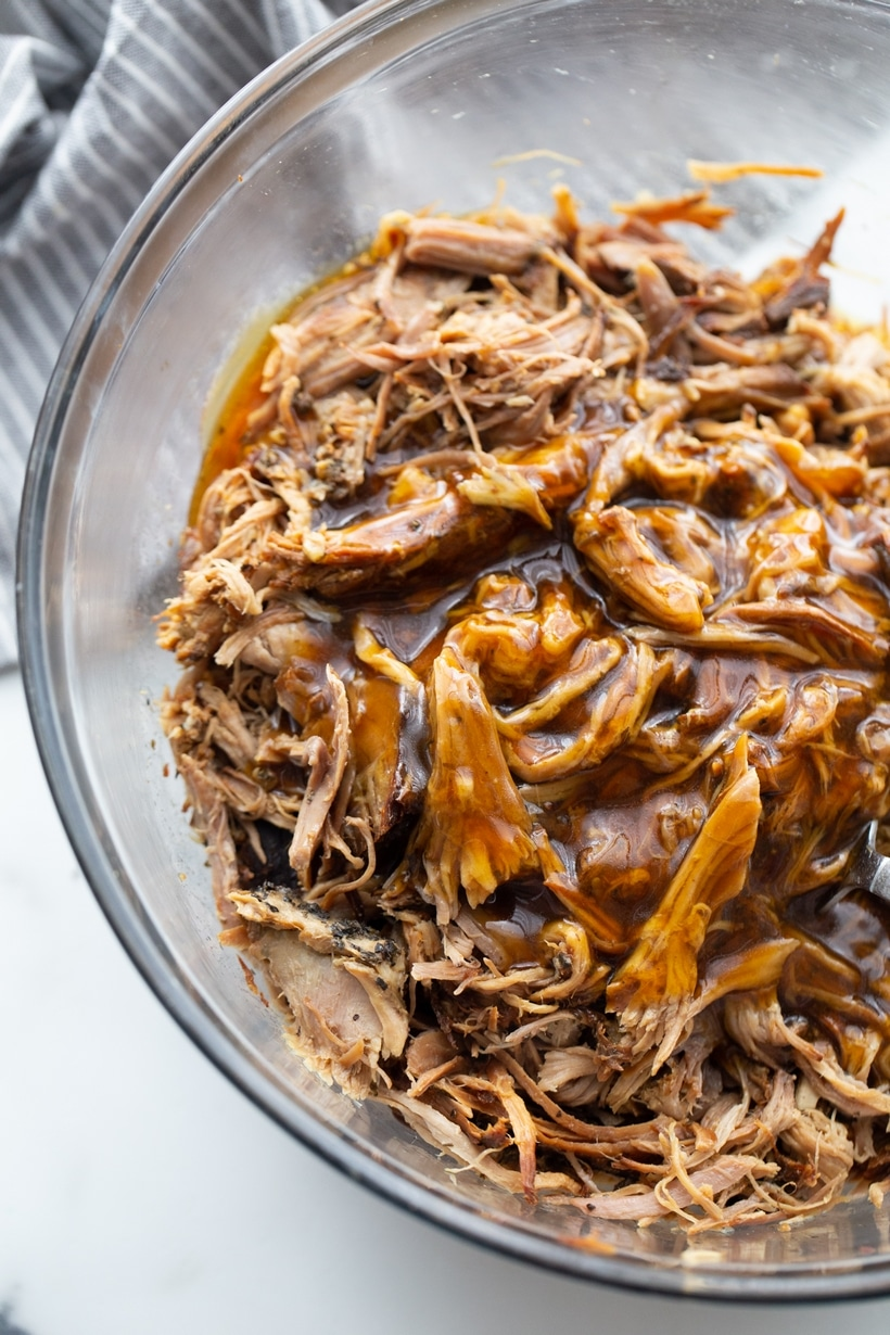 Pulled pork with sauce.