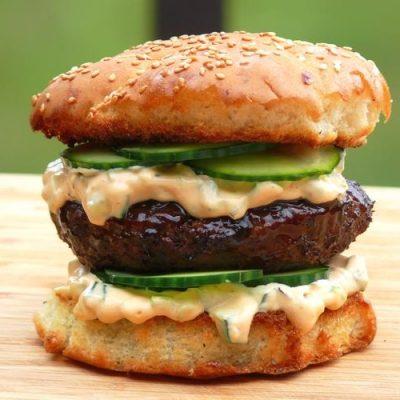 Hoisin Burger with Sriracha Relish
