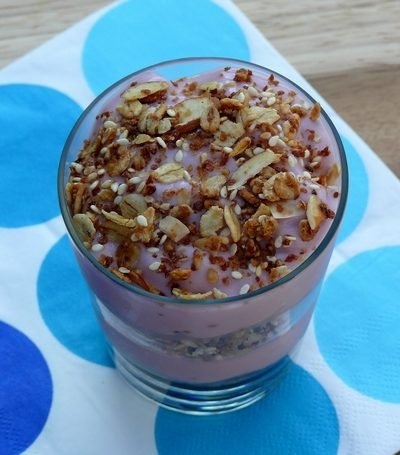 Almond Cran-Strawberry Granola Parfait