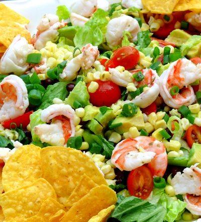 Cilantro-Lime Shrimp, Corn and Black Bean Taco Salad