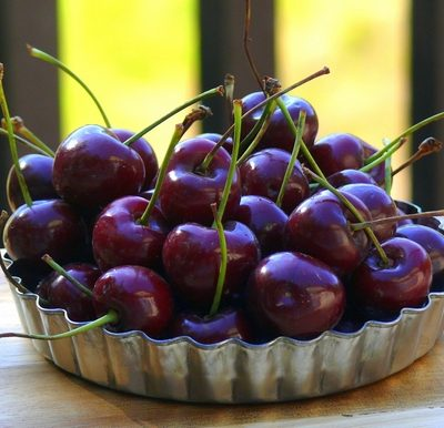 Fresh cherries in a tin bowl.