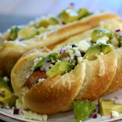 "Three Cheese ""Mexican Style"" Sausage Dogs with Avocado"