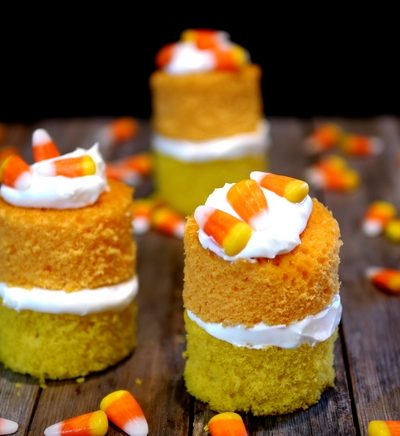 Candy Corn Cakes with Marshmallow Cream Topping