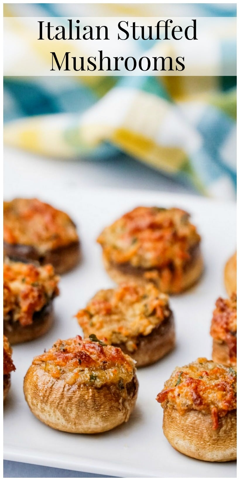 These Italian Stuffed Mushrooms are the perfect party appetizer for any occasion.  Put these stuffed mushrooms together early in the day and bake them off right before guests arrive. #noblepig #mushrooms #italianstuffedmushrooms #partyappetizer #partyappetizerforacrowd #mushrromappetizer #stuffedmushrooms #italianfood #italianappetizer #partyfood via @cmpollak1