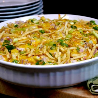 Warm and Cheesy Leftover Ham Salad with Shoestring Potato Crunch