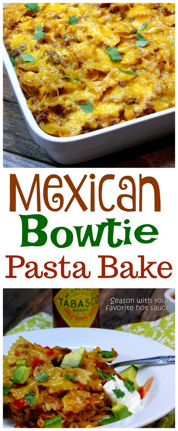 VIDEO + Recipe: Garnish this MEXICAN BOWTIE PASTA BAKE with fresh avocado, sour cream, cilantro and a favorite hot sauce. Makes for great leftovers too from NoblePig.com. #noblepig #cincodemayo #pasta #casserole #mexican