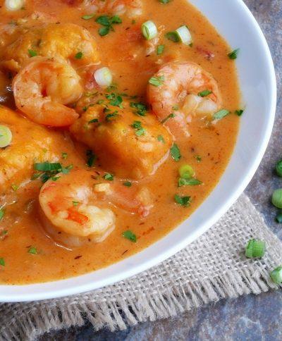 Creamy Shrimp Creole Soup with Bacon-Cornmeal Dumplings