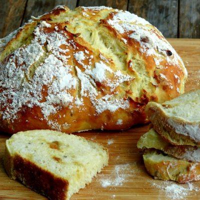 Easy Artisan Roasted Garlic-Rosemary Bread