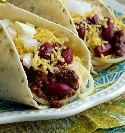 Smokey Cincinnati Chili Tacos