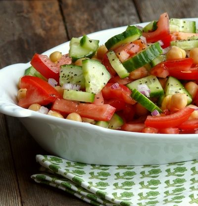 Cucumber, Tomato and Chickpea Salad