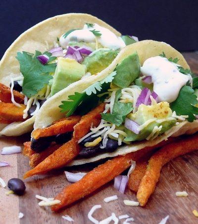 Smokey Sweet Potato Fry-Black Bean Tacos with Maple-Jalapeno Cream