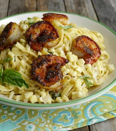 "Almost ""sauceless"" Creamy Corn Fettuccine with Blackened Shrimp + VIDEO"