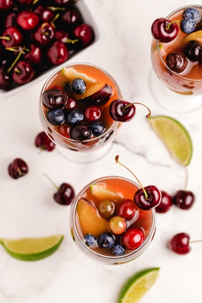 red sangria with cherries