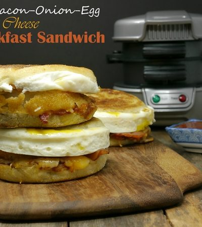BBQ Bacon-Onion-Egg and Cheese Breakfast Sandwich