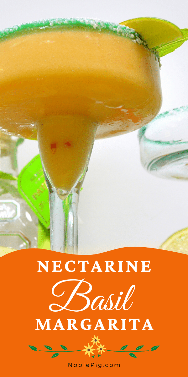 This stone cold, top shelf frozen margarita recipe using frozen nectarines is one for the books. Nectarine-Basil Frozen Margaritas are going to be your new favorite. via @cmpollak1