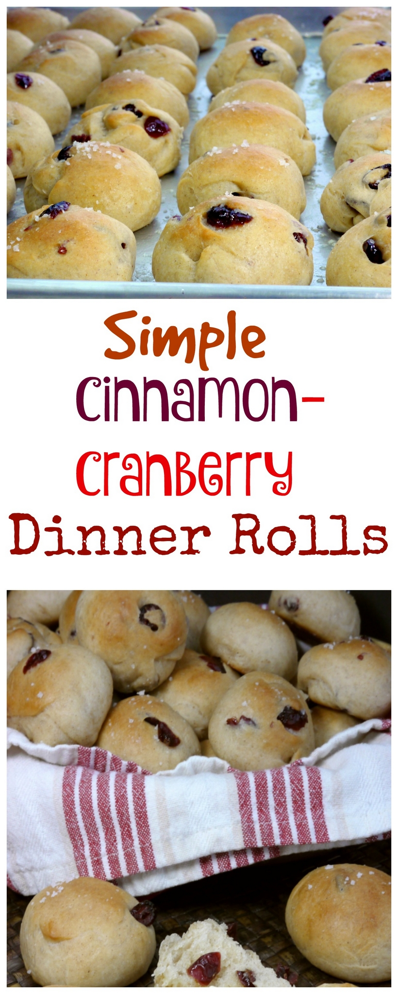Perfect for all the holidays and every dinner in between, these SIMPLE CINNAMON-CRANBERRY DINNER ROLLS need to be on your menu.