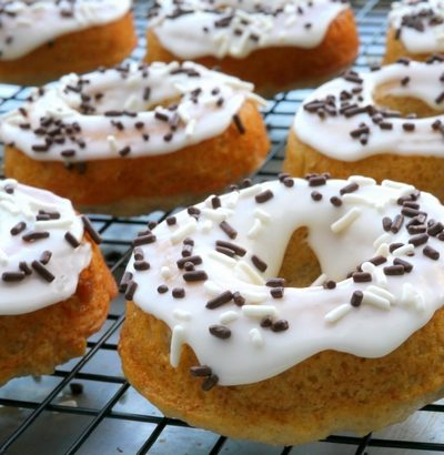 Apple Pie Spiced Doughnuts with Sour Cream Icing