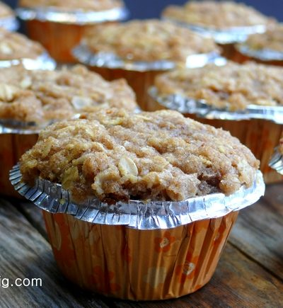 Streuseled Apple Oatmeal Cinnamon Chip Muffins