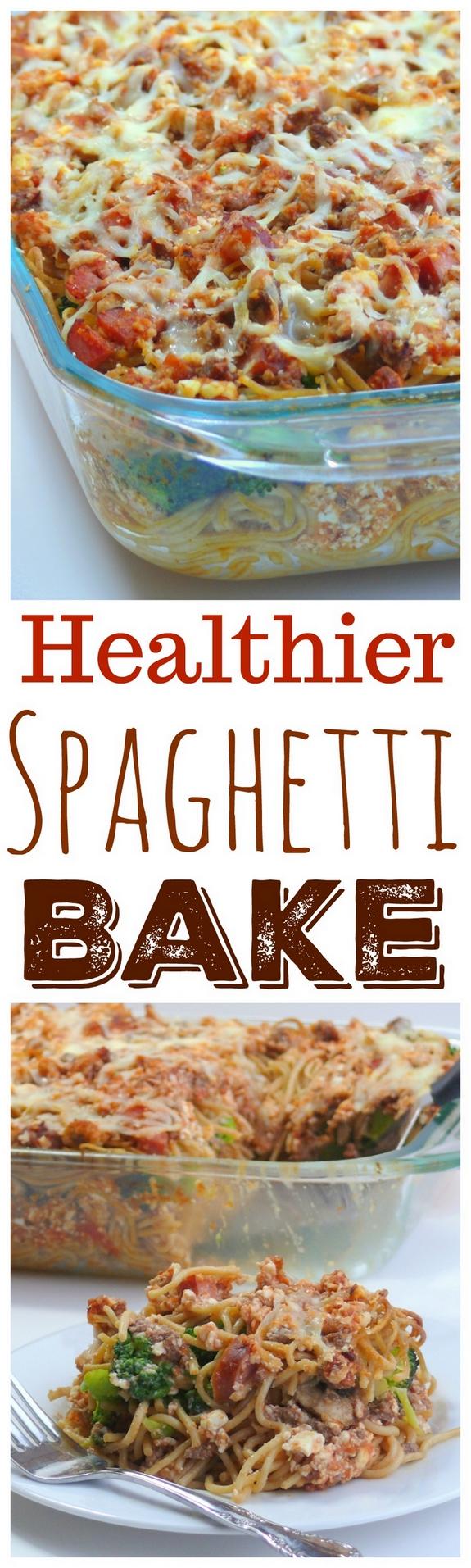 Healthier Spaghetti Bake from NoblePig.com