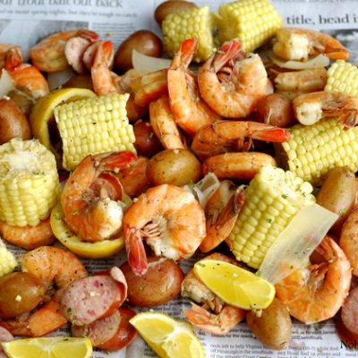 Low Country Shrimp Boil shown on top of newspaper.