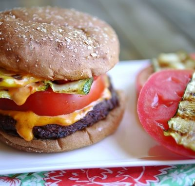 Spicy Black Bean Burger with Grilled Veggies and Sriracha Mayo