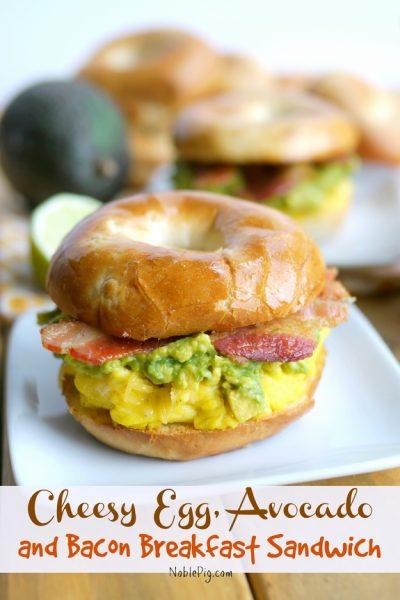 Cheesy Egg, Avocado and Bacon Breakfast Sandwich