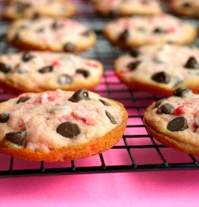 Soft Baked Maraschino Cherry-Chocolate Chip Cookies