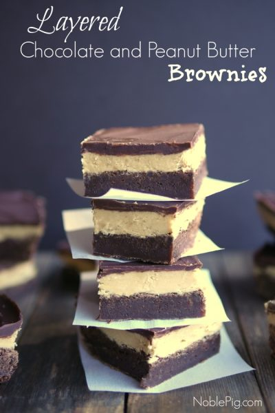 Layered Chocolate and Peanut Butter Brownies