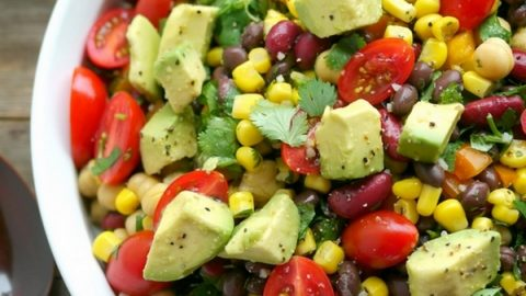 VIDEO + Recipe: A filling and satisfying dish, this Avocado and Three Bean Salad is the perfect side to any meal. You need to try it as soon as possible from NoblePig.com. #noblepig #avocado #avocadosalad #threebeansalad