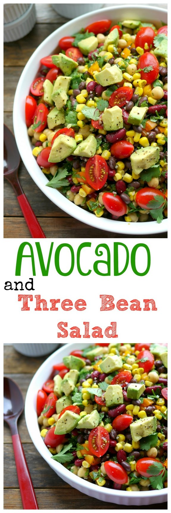 VIDEO + Recipe: A filling and satisfying dish, this Avocado and Three Bean Salad is the perfect side to any meal.  You need to try it as soon as possible from NoblePig.com. #noblepig #avocado #avocadosalad #threebeansalad via @cmpollak1