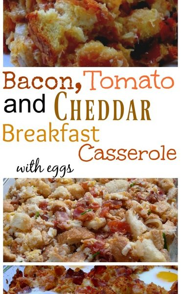 Bacon, Tomato and Cheddar Breakfast Casserole with Eggs