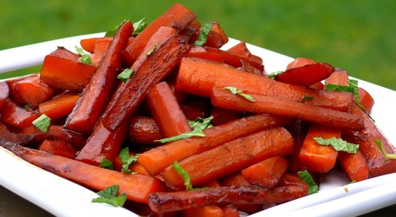 Pomegrante Balsamic Glazed Carrots